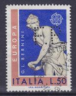 Italy Perfin Perforé Lochung 'F.P.' 1974 Europa CEPT G. L. Bernini Stamp (2 Scans) - 6. 1946-.. Republic