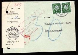 A6039) Bund Brief Mainz-Mombach 02.03.60 Zettel Nachgebühr 0,30 DM - BRD