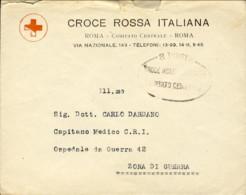"""1918's-busta Della Croce Rossa Italiana Con Bollo Ovale """"R.Poste Croce Rossa Italiana-comitato Centrale"""" - Storia Postale"""