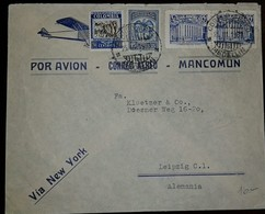 L) 1930 COLOMBIA, COMMUNICATIONS PALACE, BLUE, COFFEE, 30C, EAGLE, 15C, VIA NEW YORK, TO GERMANY, AIRMAIL - Colombia