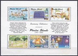 Pitcairn 1991 Geschichte History Seefahrt Schiffe Ships Meuterei Munity Bounty Sport Kricket Feuerwerk, Bl. 14 ** - Briefmarken