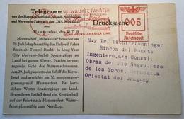 """Deutsches Reich Freistempel """"HAMBURG 1938 """" Ak HAPAG SPITZBERGEN FAHRT Hammerfest Norway> Uruguay (Brief Seepost Ppc - Allemagne"""