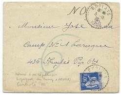 ENVELOPPE 90c BLEU TYPE PAIX BURLATS TARN 1939 AVEC CORRESPONDANCE / ADRESSE REPUBLICAIN ESPAGNOL CAMP ARGELES - Marcophilie (Lettres)