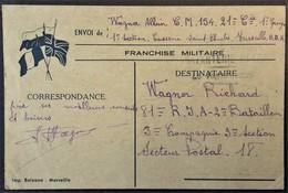 Carte De Franchise Militaire 3 Drapeaux éditée à Marseille Novembre 1939 - Marcophilie (Lettres)