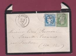 070419 - Lettre Affranchie 20c Bordeaux Essai Piquage Avallon + 5c Empire Septembre 1871 RARE Mauvais état - Postmark Collection (Covers)