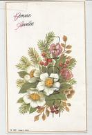 Carte De Vœux. Bouquet De Fleurs, Crocus, Sapin, Baies, Fleurs D'églantier. - Nouvel An