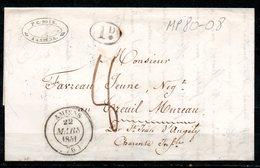 MP80-08 : Dept 80 (Somme) AMIENS 1841 > Cachets Type 14 & 1 Decime + Taxe Manuscrite 8 Decimes - Marcofilie (Brieven)
