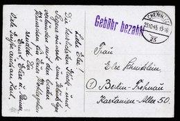 A6043) SBZ Karte Barfrankatur Chemnitz 25 23.10.45 N. Berlin - Sowjetische Zone (SBZ)