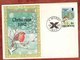 Klappkarte, Weihnachten, Rotkehlchen, 1982 (71951) - Isle Of Man
