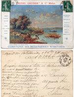 """Bière """"GRUBER"""" & Cie Melun - Cie Des Messageries Maritimes - Cachet Octogonal Ligne N PAQ. FR. N° 8  (112561) - Pubblicitari"""