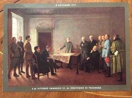 UNIFORMI MILITARI S.M.VITTORIO EMANUELE III AL CONVEGNO DI PESCHIERA 8 Novembre 1917 CROMOLITOGRAFIA (29x21) - Uniforms