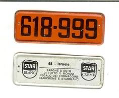 Targhe D'auto Di Tutto Il Mondo: Gadget Pubblicitario STAR In Latta Originale '60. 68 - Israele (regalo Dei Formaggini) - Advertising (Porcelain) Signs