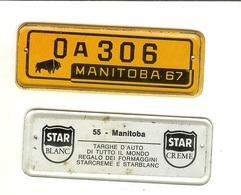 Targhe D'auto Di Tutto Il Mondo: Gadget Pubblicitario STAR In Latta Originale '60. 55 - Manitoba (regalo Dei Formaggini) - Advertising (Porcelain) Signs