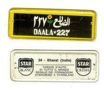 Targhe D'auto Di Tutto Il Mondo: Gadget Pubblicitario STAR In Latta Originale '60. 24 Bharat India Regalo Dei Formaggini - Cartelli Pubblicitari