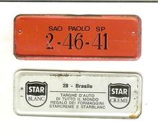 Targhe D'auto Di Tutto Il Mondo: Gadget Pubblicitario STAR In Latta Originale '60. 28 - Brasile (regalo Dei Formaggini) - Advertising (Porcelain) Signs