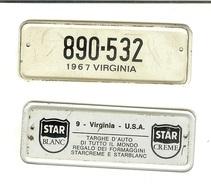 Targhe D'auto Di Tutto Il Mondo: Gadget Pubblicitario STAR In Latta Originale '60. 9 Virginia USA (regalo Dei Formaggini - Advertising (Porcelain) Signs