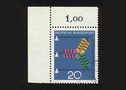 BRD 1966: Michel-Nr. 521, 75 Jahre Drehstromübertragung, Eckrand Links Oben, Gestempelt - BRD