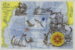 """1974-(MNH=**) Tristan Da Cunha Foglietto S.1v.""""l'isola Solitaria, Pinguini Rosa Dei Venti Albatros Galeoni"""" - Tristan Da Cunha"""