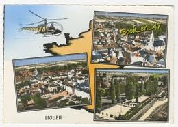 {76706} 37 Indre Et Loire Ligueil , Multivues ; Vue Générale , Le Champ De Foire , Le Jardin Public ; Hélicoptère - France
