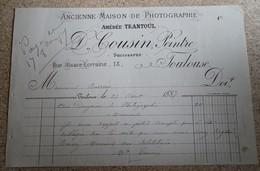 Facture Ancienne - Ancienne Maison De Photographie Amédée Trantoul - D Cousin - Peintre - Toulouse 1887 - France