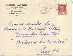 Lettre  Pour Les Oeuvres Du Marechal Petain Secour National De Chelles Seine Et Marne - Marcophilie (Lettres)