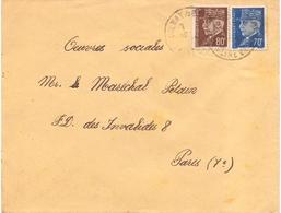 Lettre  Pour Les Oeuvres Du Marechal Petain Secour National De Aulnay Sous Bois Seine Et Oise - Marcophilie (Lettres)