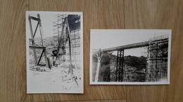 2 PHOTOS ANCIENNES - ANTHEOR 83 VAR - VIADUC RECONSTRUIT APRES DESTRUCTION GUERRE 39 - 45 - Lieux