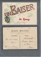 89; Rosoy. Un Baiser De Rosoy. Carte Mâte Et Pailletée. - Autres Communes