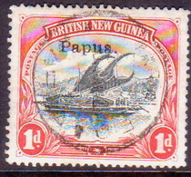 PAPUA (BRITISH NEW GUINEA) 1907 SG #39 1d Used Wmk Vertical Small Opt CV £5 - Papua New Guinea