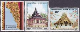 """1970-(MNH=**) Laos S.3v.""""pagode""""catalogo Yvert Euro 4,75 - Laos"""