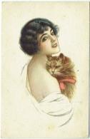 Illustrateur : Signé Illisible. Femme Et Chat. - Illustrateurs & Photographes