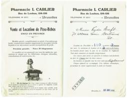 Facture. Bruxelles. Pharmacie Carlier, Rue De Laeken. Location De Pèse-Bébé. 1916. - Bélgica