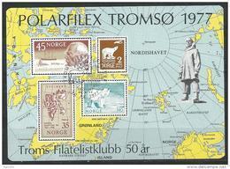 Norvège,  1977 Bloc émis Pour L'exposition  Polafilex à Tromsö Avec Ours Et Amundsen - Blocks & Kleinbögen