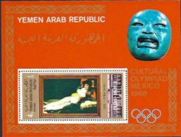 "1969-(MNH=**) Yemen Arab Republic Foglietto 1v. ""Olimpiadi Culturali Messico 1968, Prado Madrid"" - Summer 1968: Mexico City"