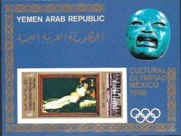 """1969-(MNH=**) Yemen Arab Republic Foglietto 1v. Non Dentellato """"Olimpiadi Culturali Messico 1968, Prado Madrid"""" - Summer 1968: Mexico City"""
