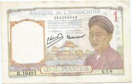 Indochina - Indochine 1 Piastre 1932 Pk 54 D Punto Bajo La O De MOT En Reverso - Indochine