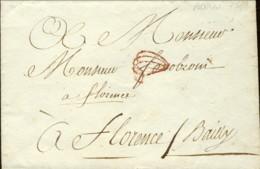 """1780-busta Da Parigi A Firenze Con Bollo Di Ceralacca """"Mariele Paris 1780"""" - Documentos Históricos"""