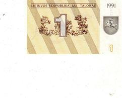 Billet Banque De La République De Lituanie 1 Talonas Type 1991 Neuf - Lithuania