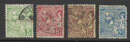 MONACO , Lot De 4 Timbres , Prince Albert 1 , 1901  , N° YT 22 , 23 , 24 , Obl. & 25 , * ( Voir Descriptif ) - Monaco