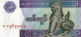 Billet De Banque Central Du Birmanie 1 Kyat Type 1991/1998 Neuf Non Daté - Billets