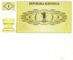 Billet De Banque De La République De La Slovénie 1 Tolar Type 1990/1992 Neuf - Slovenia