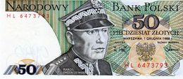 Billet De Banque De Pologne 50 Zlotych Type Karol Swierczewski 1988 Neuf - Pologne