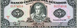 Billet De Banque Central De L'équateur 5 Sucres Type Sucre 22 Novembre 1988 Neuf - Ecuador
