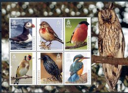 Europa 2019 - Guernsey Guernesey - Feuillet Oiseaux (Puffin, Linnet, Bullfinch, Goldfinch, Starling, Kingfisher) ** - Collections, Lots & Séries