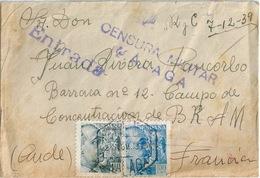 ESPAGNE ESPANA Lettre Pour Camp De Concentration WW2 Censure 1939 - 1931-Aujourd'hui: II. République - ....Juan Carlos I