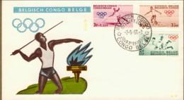 """1960-Congo Belga S.5v."""" Olimpiadi Di Roma"""" Su Due Fdc Illustrate - 1947-60: Storia Postale"""