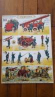 PLANCHE POMPIERS SOLDATS A DECOUPER PRO PATRIA EDITIONS H. BOUQUET 38 X 28 CM - Découpis