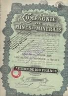 LOT DE 5 ACTIONS DE 100 FRS  -COMPAGNIE DE MINES ET MINERAIS -1928 - Mijnen