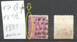 FINLAND FINNLAND 1881 Michel 17 B Y B O Mute Cancel + Variety ERROR Smugdy Print - Used Stamps