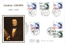 "FRANCE / POLOGNE 1999 : Enveloppe 1er Jour Grand Format Numérotée Sur SOIE "" FREDERIC CHOPIN "". N°YT 3287 + POLOGNE. FDC - Joint Issues"